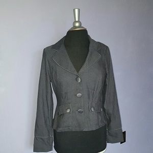 Candies English Country Blazer/Blouse L Gray NWT